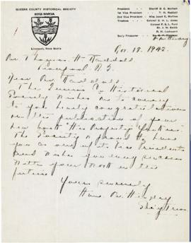 Correspondence between Thomas Head Raddall and the Queens County Historical Society