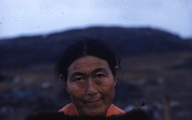 Photograph of a woman named Aggio in Cape Dorset, Northwest Territories