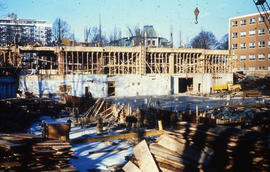 Photograph of the construction of the Tupper Building, framing first floor