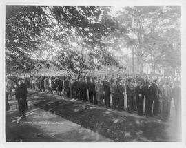 Photograph of attendees at Arthur Stanley MacKenzie's funeral