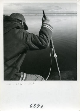 Photograph of a man harpooning a wounded seal in Frobisher Bay, Northwest Territories
