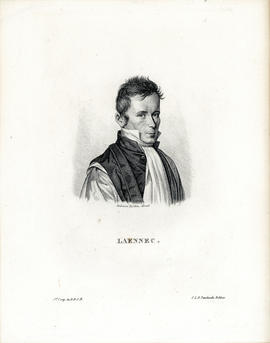 Engraved portrait of Rene Laennec [1781-1826]