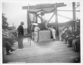 Photograph of the cornerstone laying ceremony for the Medical Dental Library
