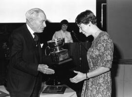 Photograph of Susan Mason and Donald McInnes : Class of '55 Trophy presentation