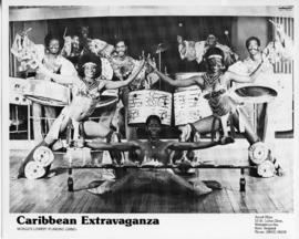 Photograph of Caribbean dancers  and limbo dancer performing with fire