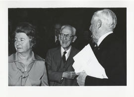 Photograph of Norman A. M. MacKenzie and two unidentified people