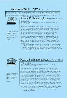 Correspondence and promotional material from Oceana Publications Incorporated
