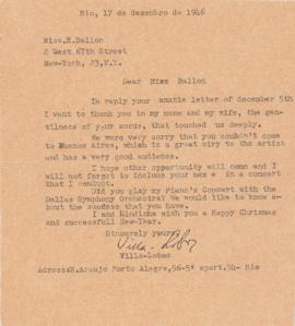 Letter from Heitor Villa-Lobos to Ellen Ballon