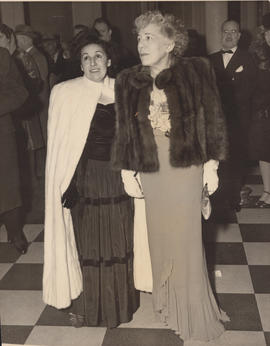 Ellen Ballon with unknown woman at the opening of the Metropolitan Opera
