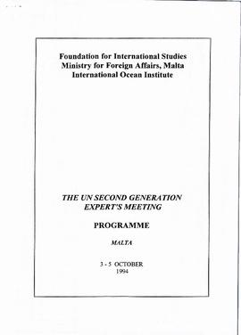 UN second generation experts' meeting : [programme]