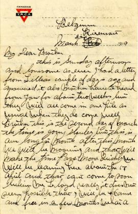 Letter from Weldon Morash to his brother Lloyd dated 2 March 1919