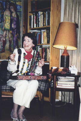 Photograph of Ann Manning at her Kellogg Library retirement party