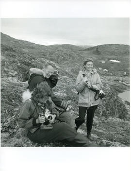 Photograph of Rosemary Gilliat, Bill Larmour, and Barbara Hinds in Port Burwell, Northwest Territ...