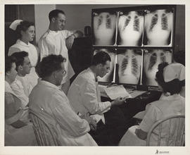 Photograph of Outpatient and Public Health Clinic, viewing x-ray plates