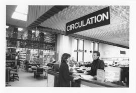 Photograph of the W.K. Kellogg Library circulation desk