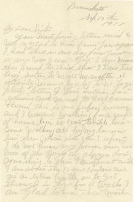 Letter from Weldon Morash to his sister Gertrude dated 12 September 1918