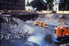 Photograph of construction of the Tupper Building, digging sub-basement