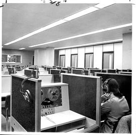 Photograph of the language laboratory in the Killam Memorial Library