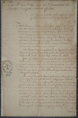 Document from Richard Phillips, Governor of Nova Scotia. To the Right Honorable, the Lord Visct. ...