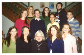 Photograph of Liz Foy and students