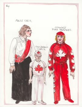 Costume designs for Adult Choir, Children's Choir, and Gymnast Flag Bearers