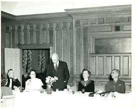 Photograph of Thomas Head Raddall speaking at a dinner in his honour given by the officers of the...