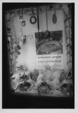 Photograph of Truro office display window promoting extension phones for Christmas