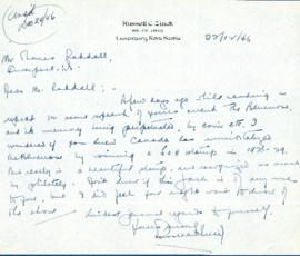 Correspondence between Thomas Head Raddall and Russell C. Zinck