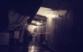 Photograph of a ship's alleyway at night near Newfoundland and Labrador