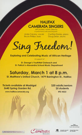 Sing freedom : exploring and celebrating music of African Heritage : [poster]