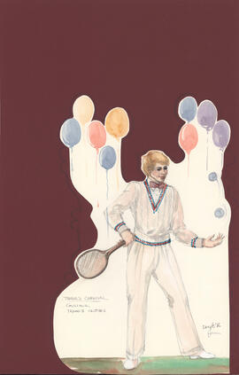 Costume design for Gustave in tennis clothes