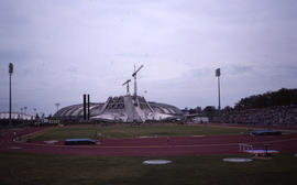Photograph of the stadium and track from a distance