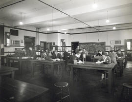 Photograph of students in the first year science laboratory in the Science Building