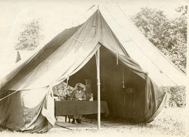 Laura May Hubley in her tent
