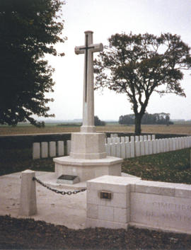 Photograph of the cross monument at the Manitoba Cemetery near Caix, France