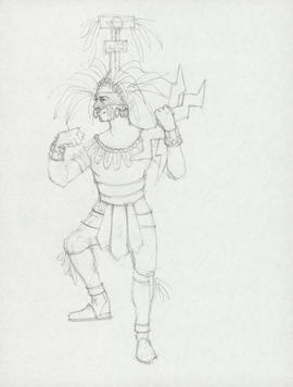 Costume design for man with thunderbolts