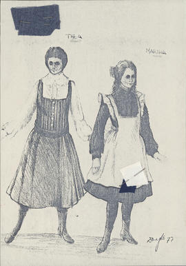 Photocopy of costume design for Thea and Martha