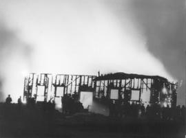 Photograph of Dalhousie's gymnasium on fire