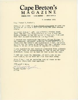 Correspondence between Thomas Head Raddall and Ronald Caplan from the ( Cape Breton Magazine)
