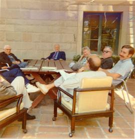 Photograph of a discussion of scholars at the Center for the Study of Democratic Institutions (CSDI)