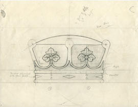 Drawing of Scottish earl's coronet carved into the head of the Dalhousie University mace