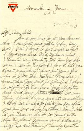 Letter from Weldon Morash to his sister Gertrude dated 11 November 1918