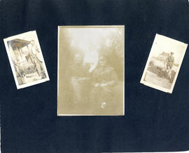 Scrapbook page with photographs from T.H. Raddall, Sr.'s leave in England