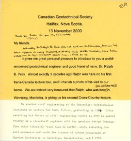 Introduction of Dr. Ralph B. Peck at a Lecture for the Canadian Geotechnical Society