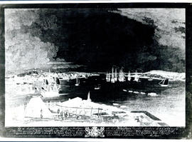 Photographic print of a negative of Halifax and the harbour viewed from George Island