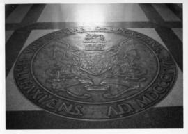 Photograph of the bronze seal in the Arts & Administration Building