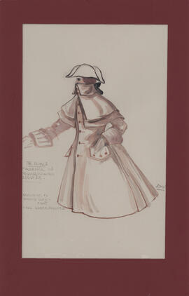 Costume design for Faulkner in Roquelaire disguise