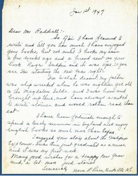 Correspondence between Thomas Head Raddall and Nora R. Pineo