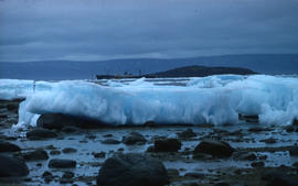 Photograph of ice floes and a ship in Frobisher Bay, Northwest Territories