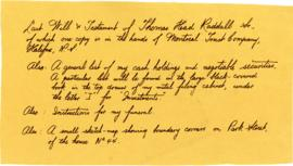 Note on envelope containing Thomas Head Raddall's Last Will and Testament